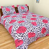 BeautifulHOMES 180 TC Cotton Double Bedsheet with Two Pillow Covers - Multi Color, CF014