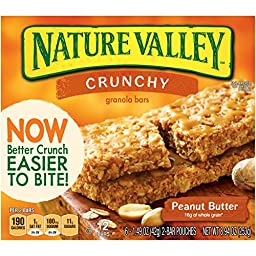 Nature Valley Crunchy Granola Bars, Peanut Butter, 12-Count Boxes (Pack of 6)