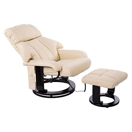 Homcom 700-008CW Massagesessel, Kunstleder, Schaumstoff, Holz, Metall, weiß, 76.0 x 80.0 x 102.0 cm