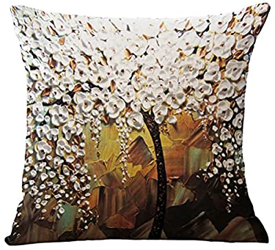 ChezMax 3D Oil Painting Home Decorative Cotton Linen Throw Pillow Cover Cushion Case Square Pillowslip For Sofa Chair Back Bed Drawing Room Bedroom Couch Bench Coffee House Bar Pub 18 X 18 Inch