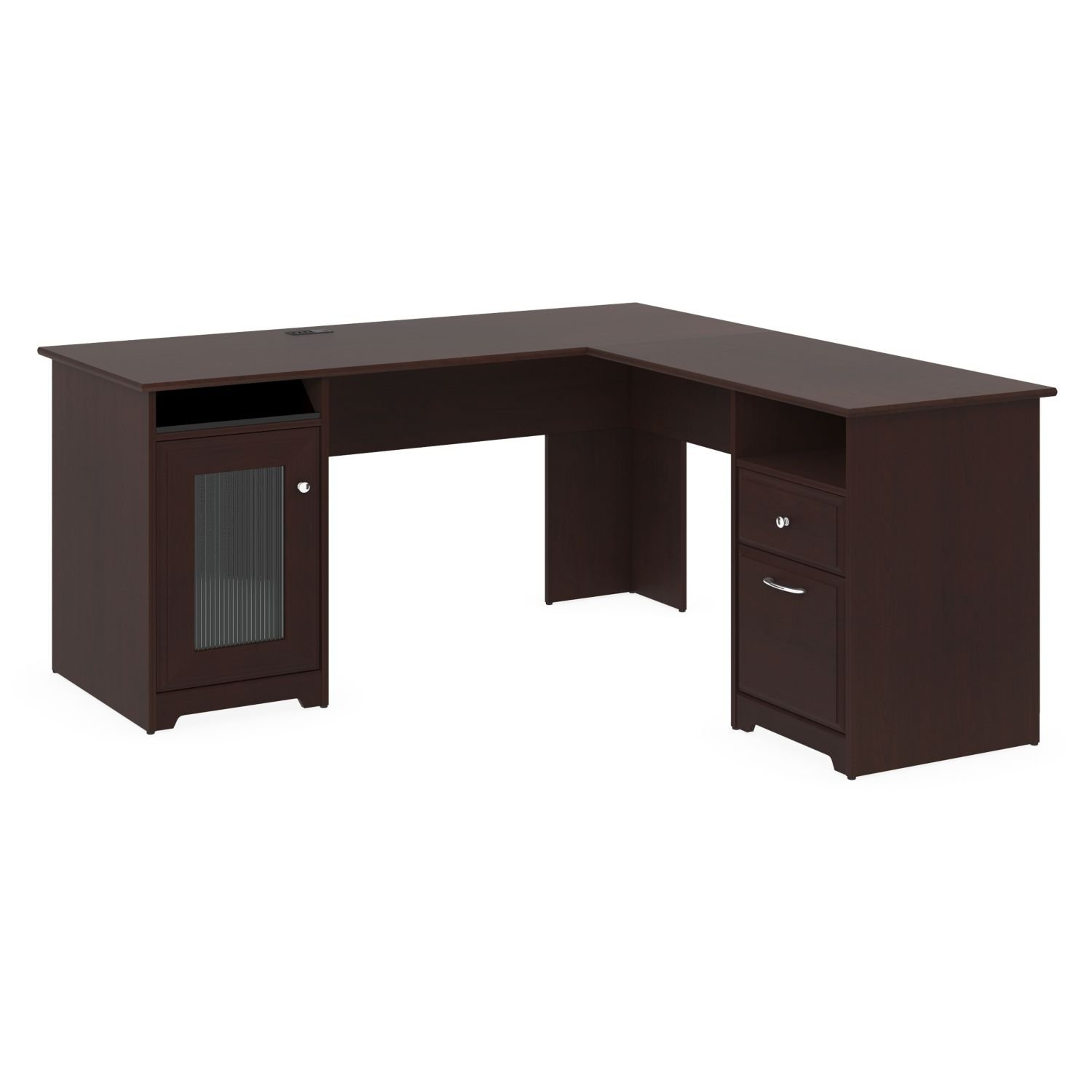 l shaped office computer desk executive wood corner home cherry oak furniture ebay. Black Bedroom Furniture Sets. Home Design Ideas