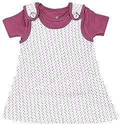 BIO KID Clothing Set for Kids (BG1I-T201-80_9-12 Months, 9-12 Months, Dark Pink / White)