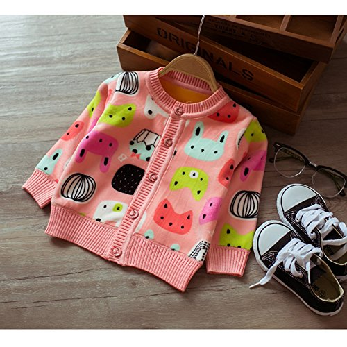 Zhuannian Baby Girls Carton Fleece Cardigan Button Sweaters (12-18months, Pink)