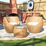 Cozy Bay® Moon 2-Seater Rattan Furniture Garden Conservatory Tea For Two Set