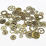 LolliBeads ® Antiqued Bronze Metal Skeleton Steampunk Watch Gear Cog Wheel Sets (50 Pcs)
