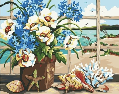 Holdfound Diy oil painting, paint by number kit Flowers And Sea 16*20 inch.