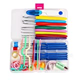 Yoodelife Crochet Hooks Set Yarn Needles Aluminum Crochet Hooks Kit 57 Pcs, Stitch Ring Markers Sewing Accessories (Color: crochet hooks)