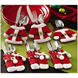 Santa Suit Christmas Silverware Holder Pockets By Collections Etc