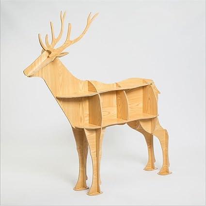 WSZYD Animal ciervos unos pocos estantería estantería de madera de estilo borde creativo consola de mesa exclusivos adornos decoraciones caseras 136 * el 145CM ( Color : A )
