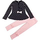 Jastore Baby Girl Cute 2pcs Set Children Clothes Suit Top and Pants Fall Clothes (6T, Navy Dot) (Color: Navy Dot, Tamaño: 6 Long)
