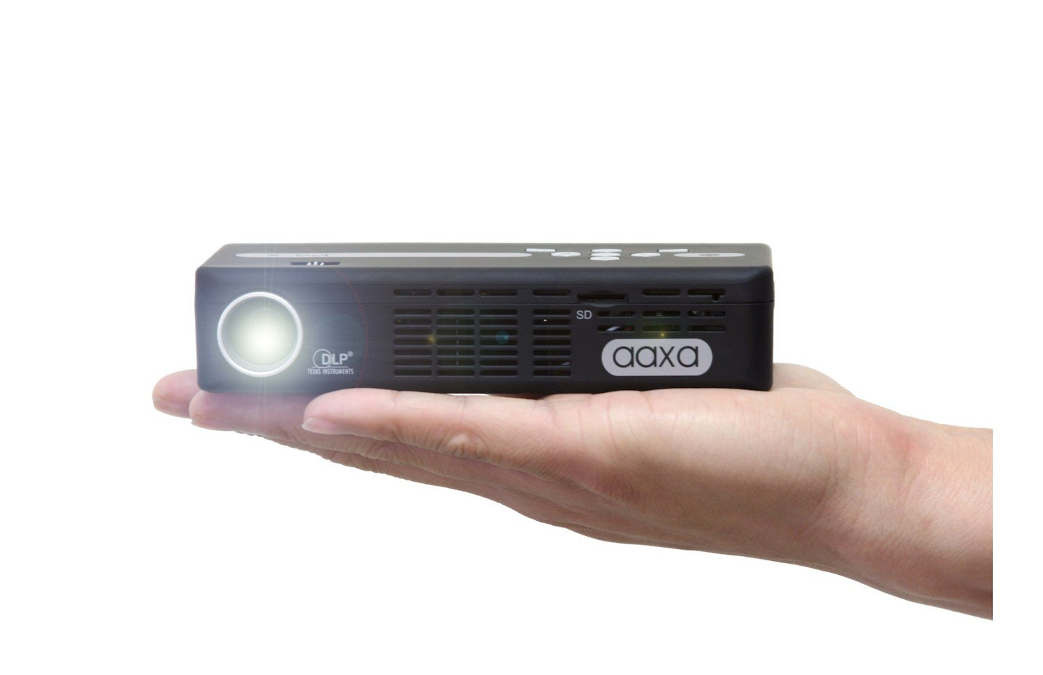 AAXA P4 P4X Pico Projector, 125 Lumens with 90 Minute Battery Life, Pocket Size, 15,000 Hour LED Life, Mini-HDMI, Mini-VGA, Media Player, DLP Projector