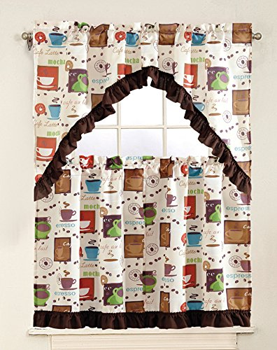 GreenWorld 3 Piece Printed Floral Kitchen/Cafe Curtain With Swag and Tier Window Curtain Set, Cup, Espresso Beige (Espresso Cups Vintage compare prices)