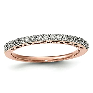 14ct Rose Gold Polished Diamond Ring