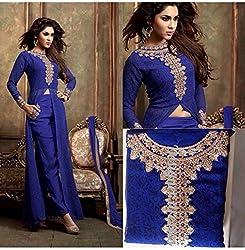 JJR Store Designer Blue Net Embroidered Dress material