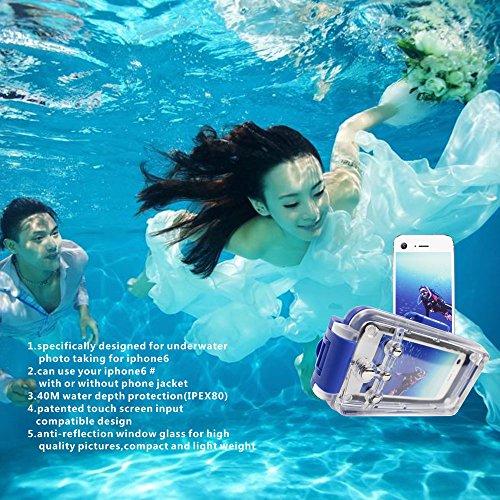 KaLaiXing® 水深40mまで完全防水 耐衝撃 防塵iphone6ケース 水中写真 ビデオ 撮影iphone6 カバー ハウジング(ブラック)-青い [並行輸入品]