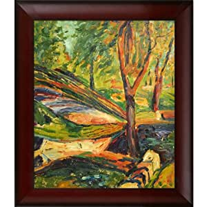 Overstockart fenced landscape framed oil reproduction of for Framed reproduction oil paintings