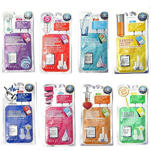 10pcs-combo-pack-korean-naexy-genius-2-steps-brightening-whitening-facial-essence-face-mask-pack-fac