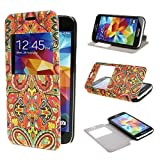 TUTUWEN View Window Painting Art Tribal Style Design PU Leather Flip Stand Case Cover for Samsung Galaxy S5 mini SM G800