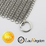 LauKingdom Cast Iron Cleaner - XXL 8x8 More Efficient Stainless Steel Chainmail Scrubber with Safe Smaller Ring