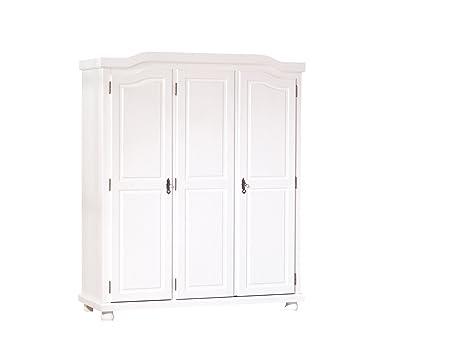 Links 20900110 Kleiderschrank Schlafzimmerschrank Schlafzimmer Landhausschrank weiß 3-turig NEU