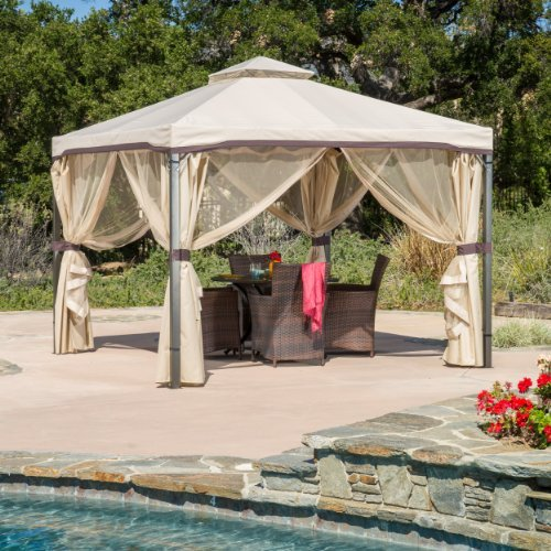 Sonoma outdoor iron gazebo canopy umbrella w net drapery for Outdoor furniture gazebo