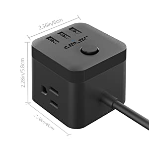 JSVER Compact Cube Smart Power Strip with 3 USB Charging Station, 3 Power Outlet and 4.92Ft Cable, Black (Color: 1Black)