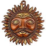 Sun Mask Religious Wall Hanging Art - Golden Finish Brass Sculpture Metal Plate Wall Decor Shani Dev Christmas...