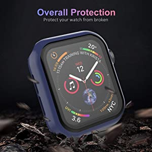UMTELE Compatible for Apple Watch Series 1 2 3 38mm Case with Built-in Tempered Glass Screen Protector, Slim Guard Shock-Proof Bumper Full Coverage Hard Protective Cover Replacement with iWatch, Navy (Color: Navy, Tamaño: 38 mm)