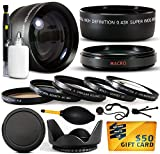 10 Piece Ultimate 58mm Lens Package For the Canon Vixia HF G10, HF G20, HF G30, HF S20, HF S21, HF S30, HF S200, XF100, XF105 Includes .43x High Definition II Wide Angle Panoramic Macro Fisheye Lens + 2.2x Extreme High Definition AF Telephoto Lens + Professional 5 Piece Filter Kit (UV, CPL, FL, ND4 and 10x Macro Lens) + Flower Lens Hood + Deluxe Lens Cleaning Kit + LCD Screen Protectors + Mini Tripod + 47stphoto Microfiber Cloth + $50 Photo Print Gift Card!