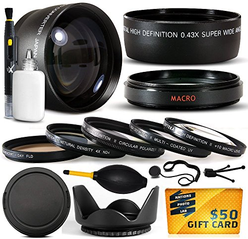 10 Piece Ultimate 58Mm Lens Package For The Canon Vixia Hf G10, Hf G20, Hf G30, Hf S20, Hf S21, Hf S30, Hf S200, Xf100, Xf105 Includes .43X High Definition Ii Wide Angle Panoramic Macro Fisheye Lens + 2.2X Extreme High Definition Af Telephoto Lens + Profe