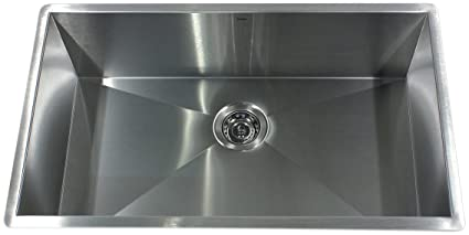 Nantucket Sinks ZR3219-16 32-Inch  Pro Series Single Bowl Undermount  Kitchen Sink, Stainless Steel