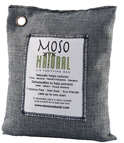 Moso Natural Air Purifying Bag 500g Charcoal Color Naturally Removes Odors, Allergens and Harmful Pollutants. Prevents Mold, Mildew And Bacteria From Forming By Absorbing Excess Moisture. Fragrance Free, Chemical Free And Non Toxic. Reuse For Up To Two Years. (Fridge Refresher compare prices)