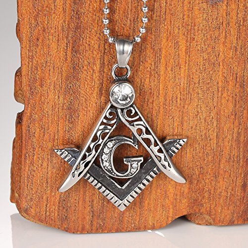 Vintage Stainless Steel Masonic Pendant Gothic Biker Freemason Pendant/mason Signet Pendant- Masonic Symbol/free Masons Masonary with Crystal White Pendant from mowen