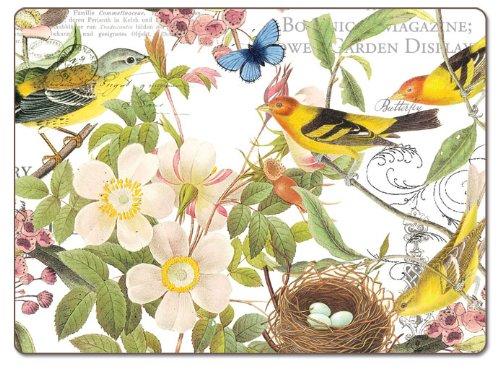 CounterArt Botanical Birds Hardboard Placemat, Set of 2