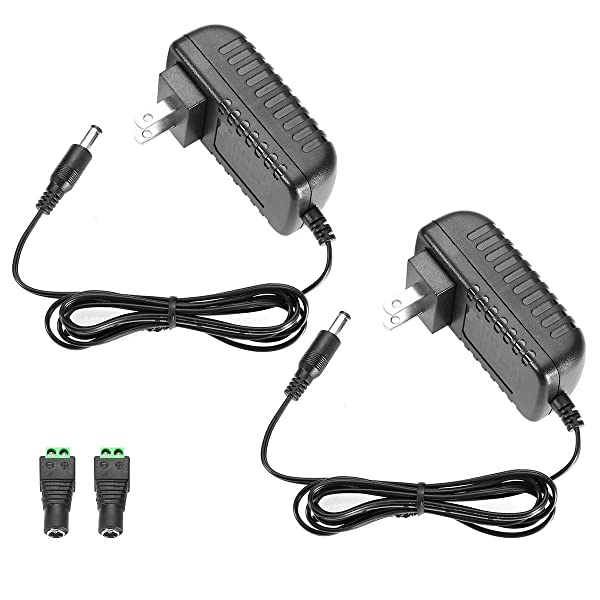 LE Power Adapter, 2A, AC 100-240V to DC 12V Transformer, 24W Switching Power Supply, US Plug Power Converter for LED Strip Light and More, Pack of 2 (Tamaño: 2 Packs)