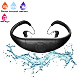 MP3 Waterproof swimming Player , Tayogo underwater 8GB memory and wireless sports all in one headset , IPX8 waterproof 3 metres underwater music playing black