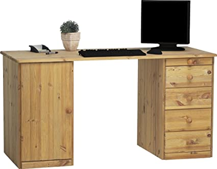 Meuble de bureau avec 1 porte et 5 tiroirs en pin coloris naturel huilé, 150 x 60 x 77 cm -PEGANE-