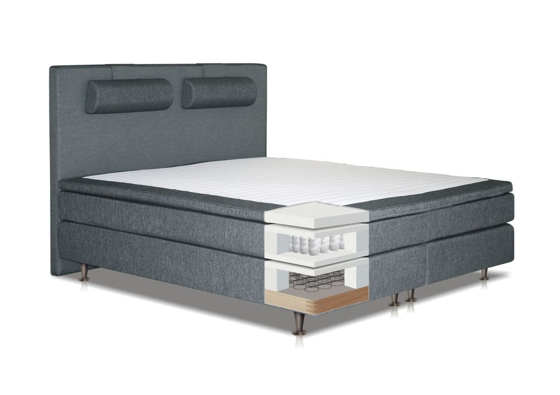 Boxspringbett COBIA, Box: Bonellfederkern, Matratze: Taschenfederkern, Top Matress: Schaumstoff - Abmessung: 120 x 200 cm