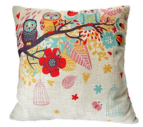 KAIKSO-IN Baumwolle und Leinen mit Kissen Taille Kissen (Branch owl)