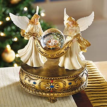 #!Cheap Musical Angels Christmas Holiday Snow Globe W/ Baby Jesus By Collections Etc