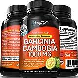 Garcinia Cambogia Weight Loss Pills 100% Pure Extract | Appetite Suppresant, Fat Burner, Diet Pills for Women & Men | Detox, Cleanse, Trim, Slim, Ultra HCA 60% Premium 1000mg