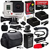 GoPro HD Hero3+ Hero 3+ Black Edition (CHDHX302) with Ultimate Special Edition Bundle Accessory Kit includes - 64GB MicroSD + (2) Battery + Charger + European Adapter + Action Grip Handle + Case + HDMI Cable + Floating Strap + Tripod Adapter Mount + Cleaning Kit
