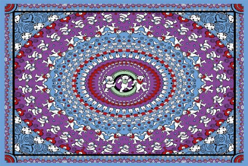 Sunshine Joy Grateful Dead Dancing Bear Tapestry Blue & Purple 60X90 Inches front-473815