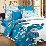 Story@Home Elegant Floral Print Mix N Match Double Bedsheet With 2 Pillow Covers 100% Cotton Satin Double Size Printed bedspread, Blue