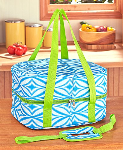 Slow Cooker Carriers (Green Geometric) by GetSet2Save (Insulated Crock Pot Carrier compare prices)