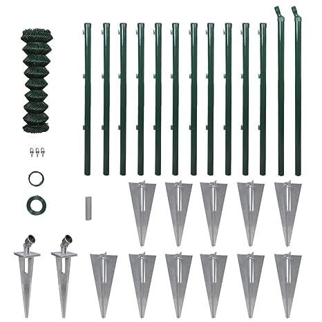 Set de valla de cadena-enlace con Anclas de pincho de postes Y Otros Accesorios de 1.25 x 25 m