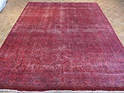 10 x 12 HAND KNOTTED WORN OVERDYED DEEP PINK PERSIAN TABREZ ORIENTAL RUG G2106