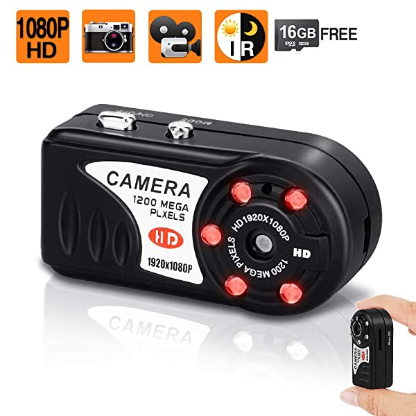 16GB 1080P HD Small Hidden Camera Pocket Camera with IR Night Vision and Photo Taking Function