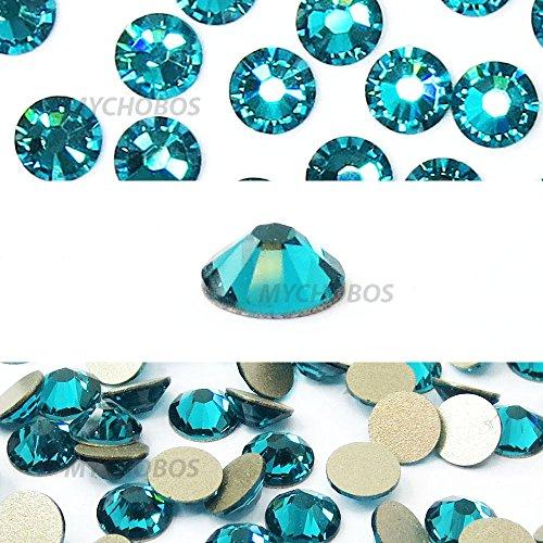 BLUE ZIRCON (229) teal Swarovski NEW 2088 XIRIUS Rose 34ss 7mm flatback No-Hotfix rhinestones ss34 18 pcs (1/8 gross) *FREE Shipping from Mychobos (Crystal-Wholesale)*