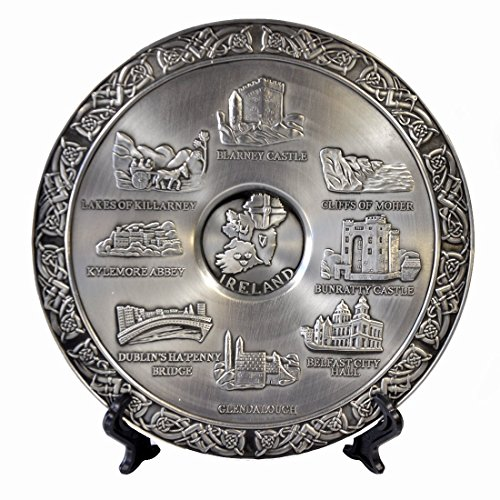Mullingar Pewter Commemorative Plate With Ireland Design